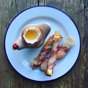 Boiled Egg and Bacon Soldiers